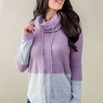 Stop Time Cowl Neck- Eggplant/Grey