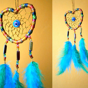 Heart Shaped Rainbow Dreamcatcher With Green-Blue Feather