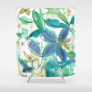 Boho Bamboo Floral Shower Curtain - white with flowers  - blue, teal, green, gold, ideas, makeover, clean look