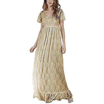 Women's Ruched Floral Lace Maternity Nursing Party Maxi Tank Dress