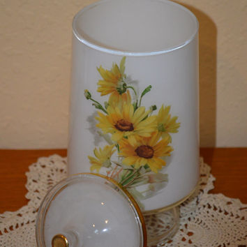 Yellow Floral Cotton Ball Jar with Lid-Black Eyed Susan Pattern
