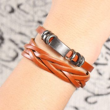 Retro personality male street shoot leather necklace men braided multi-layer bracelet