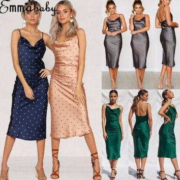 Fashion Summer Women Plunge Low-cut Chic Midi Dress Elegant Slim Polka Dot Bodycon Strappy Slip Ladies Party Dress