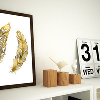 Two Gold Feathers - Gold Foil Look Print -  11x14 or 12x16 (A3) Print