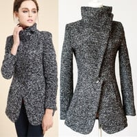 2014 new design Winter woolen jackets women's Coat/European style retro Swallow gird slim Grey overcoat women outerwear (Size: M, Color: Grey) = 1828299268