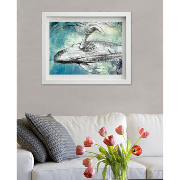 Humpback Whale, 8x10, Drawing print, pencil, giclee, whale art, ocean art, nautical art, beach decor, beach print, west coast, coastal art