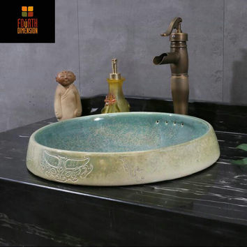 Handmade Asian Antique Engraved Porcelain Countertop Lavabo Round Semi-Counter Bathroom Sink