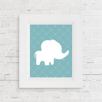 Nursery animal print. Baby animal art print. Blue baby elephant nursery decor. Nursery art. Baby shower gift. New baby gift. Kids room decor