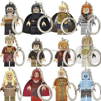 Game of Thrones Jon Snow Lannister Daenerys Figure Keychain A Song of Ice and Fire Keys Ring DIY Chain Building Blocks Toys