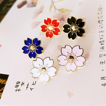 DoreenBeads uniform special Japanese sakura Badges Brooches Blossom metal badge pin Clothing Accessory White Pink Black Blue Red