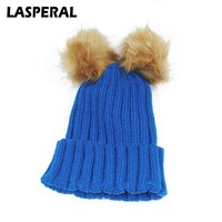 LASPERAL Winter Warm Skullies Beanies Women Kintting Hat Caps Fashion Faux Fur Balls Hat For Girl Casual Knitted Hats Child Z30
