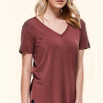 My Favorite V-Neck Tee - Red Bean