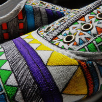Handpainted Canvas Shoes-Made to Order-Tribal Print-Size 6-11