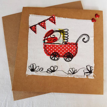 Welcome baby-Free motion machine embroidery-Dragonfly-shabby chic-greetings card-great for all ages-birthday card- applique textiles collage