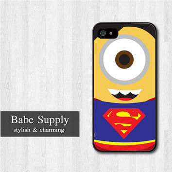 Superman Minion iPhone 5 case, Disney iPhone 5 hard case, Despicable Me cover skin case for iphone 5 (Hard / Rubber case for choice)