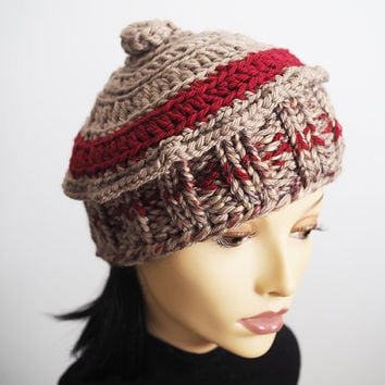 98506b9f77749 Handmade Ruby Red Russian Style Knit Hat from TheMastHatter on