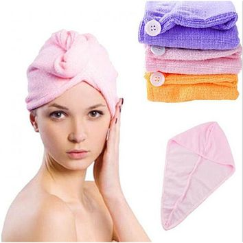 Lady Turban quick-drying hair Shower cap Bath towel