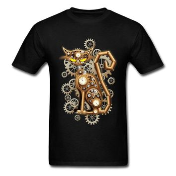 Family Steampunk Cat Vintage Copper Toy Tops T Shirt for Men Oversized Mother Day Round Neck Cotton Fabric T Shirts Tee-Shirts