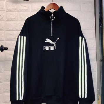 """Puma"" Women Casual Fashion Stripe Long Sleeve Zip Turtleneck Sweater Pullover Tops"