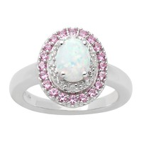 Sterling Silver Lab-Created Opal, Lab-Created Pink Sapphire & Diamond Accent Frame Ring