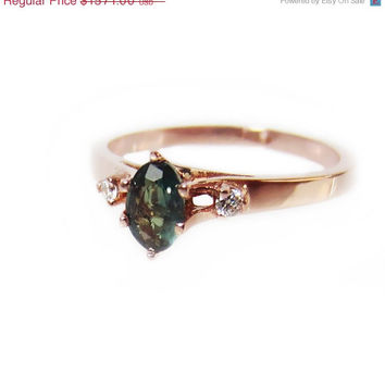 FALL SALE Natural Alexandrite Gemstone Mother Ring, June Birthstone Ring, Diamond Alternative Engagement Ring, Promise Ring, Rose Gold, Pink