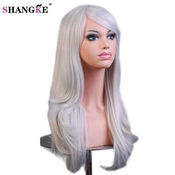 SHANGKE Long Wavy Synthetic Wigs For  Women Red Wig Heat Resistant  Female Hair Cosplay Wig