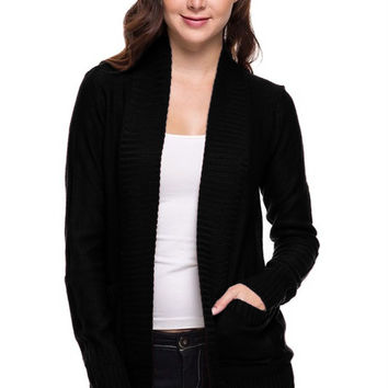Long Sleeve Open Front Knit Cardigan