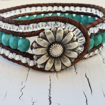 Cuff Bracelet, Turquoise Leather Cuff,  Cowgirl Bling, Country Western Jewelry, Beaded Leather Wrap Bracelet, Boho Bohemian Chic,