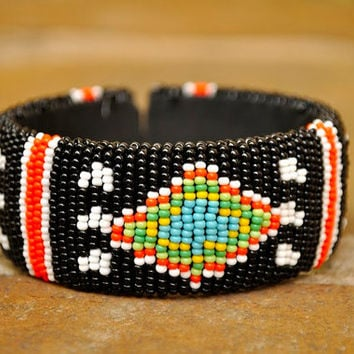 African Cuff Bangle,Black beaded bangle,African bangle,African accesories,Tribal fashion,Ethnic style,African jewellery,traditional bangle
