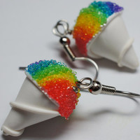 Rainbow Snow Cone Earrings Miniature Food by Sweetnsavorytrinkets