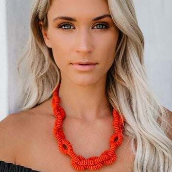 Twist + Shout Beaded Link Necklace - Coral