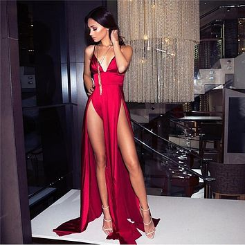DUAL HIGH SLIT EVENING GOWN