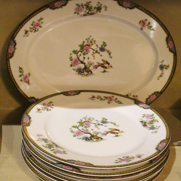 Noritake Pheasant - vintage china PLATTER - excellent condition - Plates listed separately - bird, chinoiserie, asian, dinner, table, floral