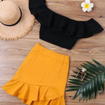 Off Shoulder Ruffles Two Piece Set