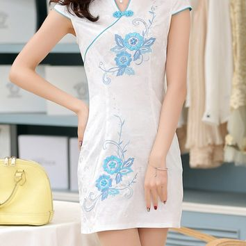 Streetstyle  Casual Contrast Trim Band Collar Floral Mini Bodycon Dress