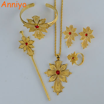 Anniyo Ethiopian Cross Jewelry Set Gold Color Necklace/Earrings/Ring/Hair Pin/Bangle Habesha Africa Wedding Gifts #044102