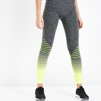 Yellow Ombre Stripe Seamless Sports Leggings | New Look