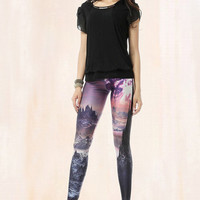 Mountains painting tights-legging-printed leggings- Halloween -galaxy-star-purple-P30XDK092
