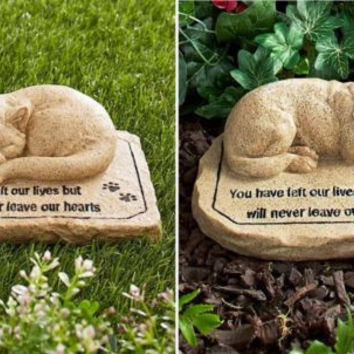 Memorial Garden Plaque Stone Marker Pet Dog Cat Ceramic Remembrance Sentiment