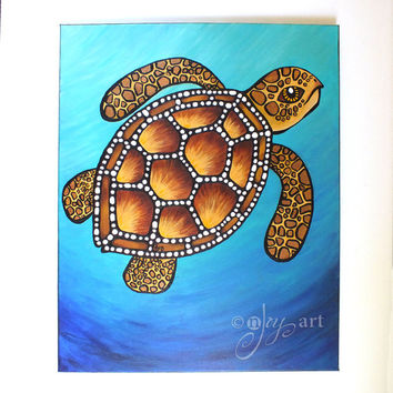 Green Sea Turtle, 16x20 inch acrylic painting on canvas, whimsical art for home and office