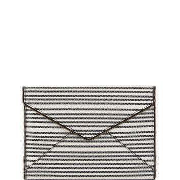 Rebecca Minkoff Leo Striped Snake-Embossed Envelope Clutch, Black/White