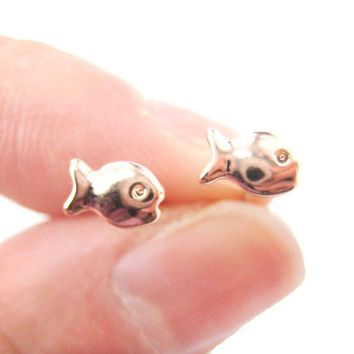 Tiny Fish Shaped Guppies Stud Earrings in Rose Gold | DOTOLY