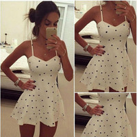 Polka Dot Spaghetti Strap V-Neck Swing Mini Dress
