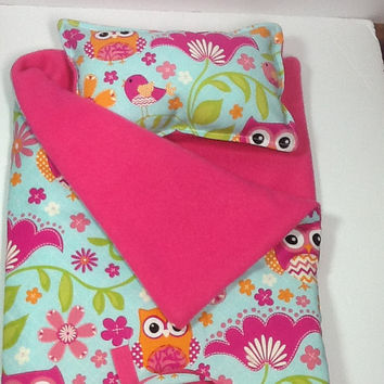 Doll Sleeping Bag with pillow, owls, blue, pink, orange, chevron, pink fleece lined,  slumber party, camping  bag