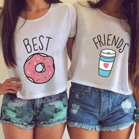 NvTx34 Women Fashion Casual O Neck Short Sleeve Printed Ladies T-shirt Hamburg Chips Best Friends Sexy Tops