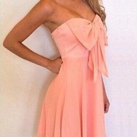 Pink Plain Bow Bandeau Formal Cocktail Party Chiffon Dress