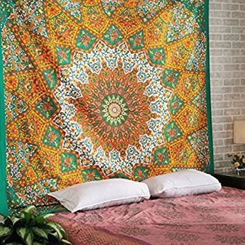 Rajrang Queen Star Mandala Psychedelic Tapestry Hippie Bohemian Wall Hanging Tapestries Bedspread Bedding Bed Cover