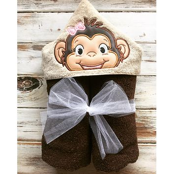 Girl Monkey hooded towel