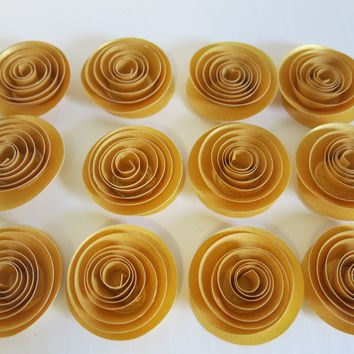 "50th Anniversary Party Decor, 12 Metallic Gold Roses, 1.5"" paper flowers, Table Scatter 3D Wedding confetti ideas, Bridal Shower Decorations"