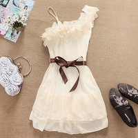 Flower Pleated Chiffon Dress ABBEBC